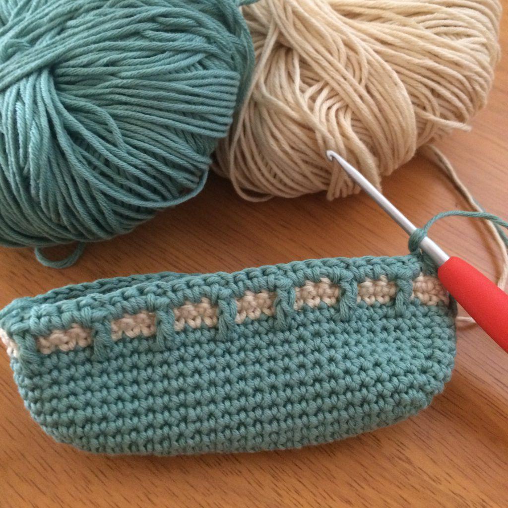 ワッフル編みのポーチ編み始め