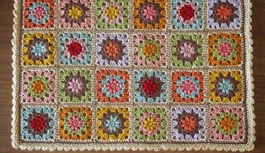 かぎ針編み|カラフルなモチーフ繋ぎの編み図とモチーフ配置のポイント