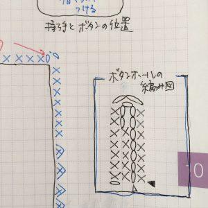 バッグ口ボタンホールの編み図