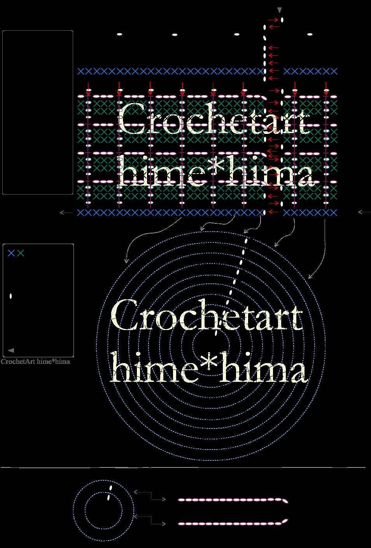 ワッフル編みの巾着の編み図
