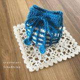 ワッフル編みの巾着
