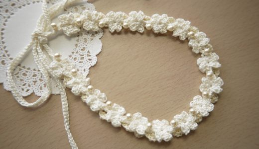 レース編み|連続で編む小さい花モチーフの編み図と編み方