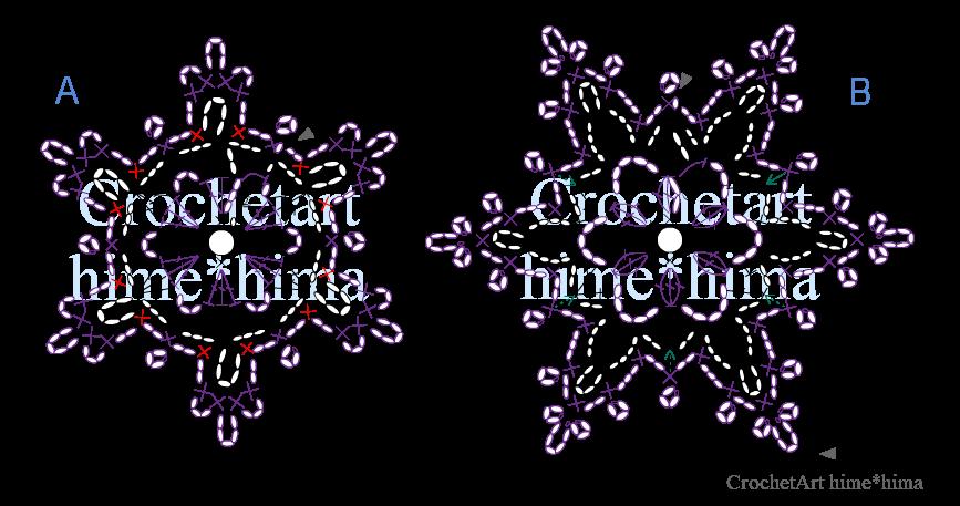 雪の結晶編み図