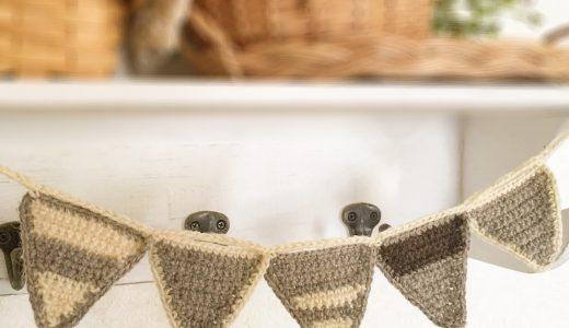 かぎ針編み|三角ガーランドの作り方(手書き編み図)
