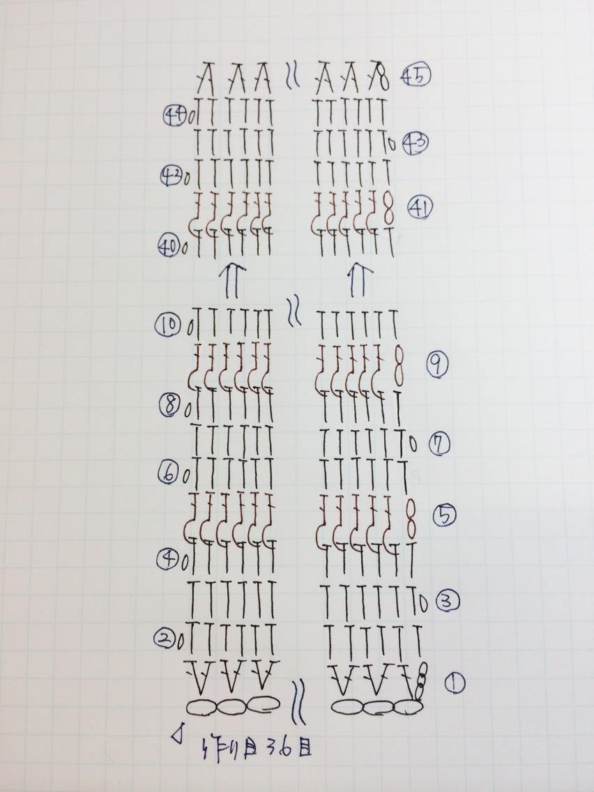 グラニーバッグの手書き編み図