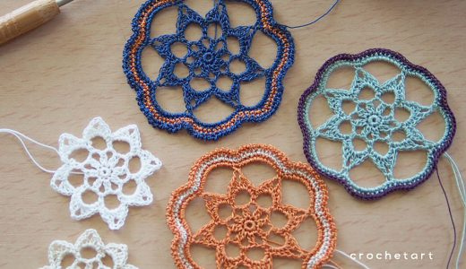 レース編み|花の形のモチーフとオーナメント(#100ドイリー 52枚目)の編み図