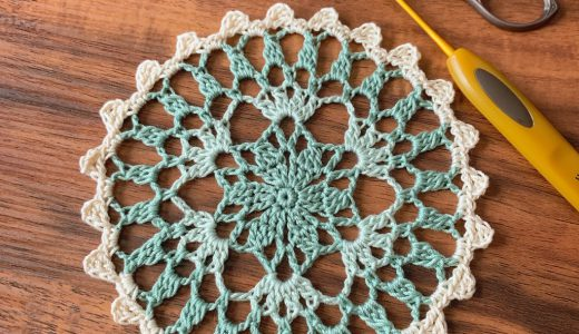 レース編み|#100ドイリー 3枚目の玉編み3目バージョンの編み図
