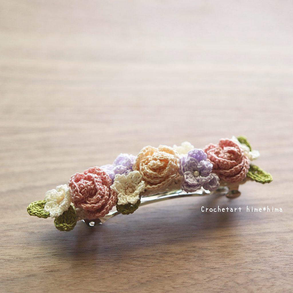 バラと小花のバレッタピン