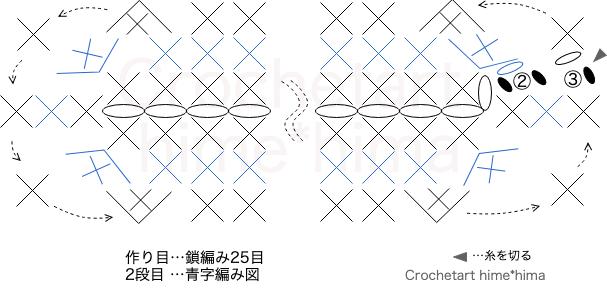 バレッタピンの土台の編み図