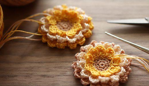 レース編み|花モチーフ(マリーゴールド)の編み方