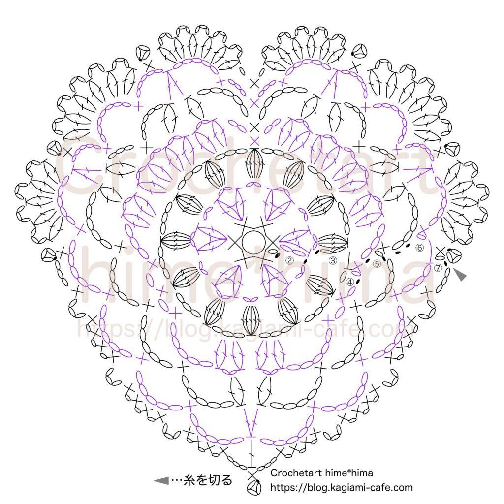 ハートのドイリーの編み図