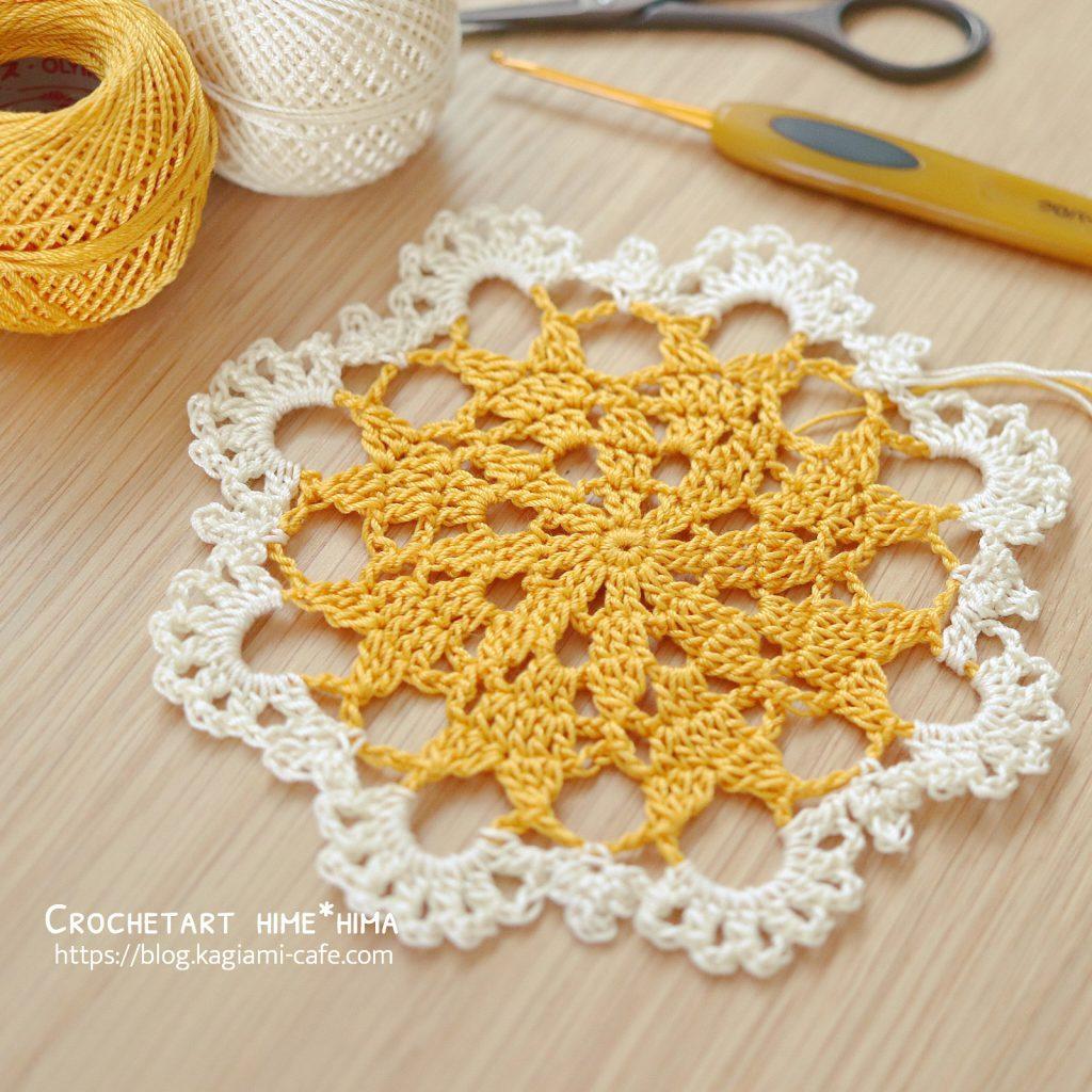 タティングレース糸で編むドイリー