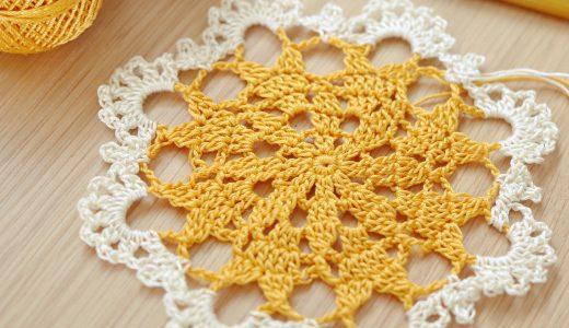 レース編み|タティングレース糸〈太〉で編むドイリーの編み図