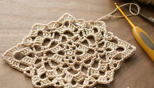 レース編み|ひし形のちょっと変わったかたちのドイリー|#100ドイリー 53枚目の編み図