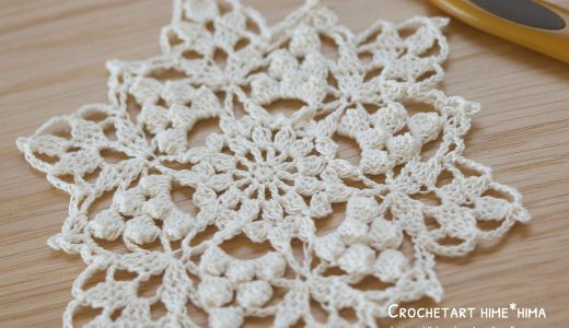 レース編み|パプコーン編みで模様を作る #100ドイリー 67枚目の編み図