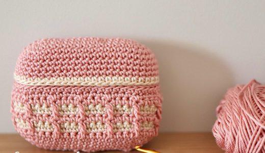 ワッフル編み|Airpods Proケースカバーの編み図と編み方