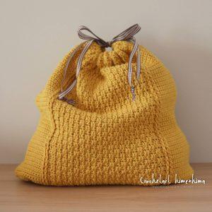 レンガ模様の巾着バッグ