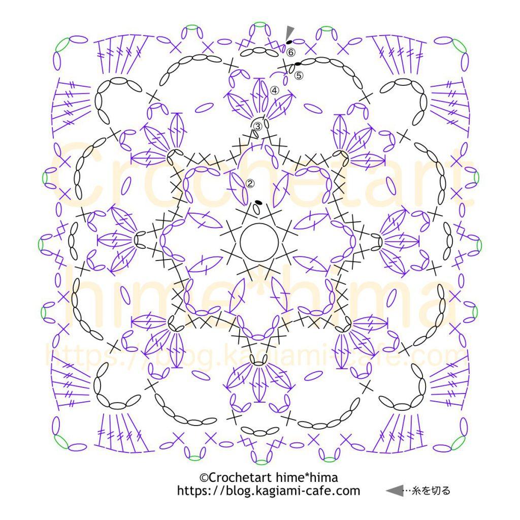 四角モテ-7の編み図