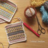 カラフル平編み基本の編み方四角いドイリー