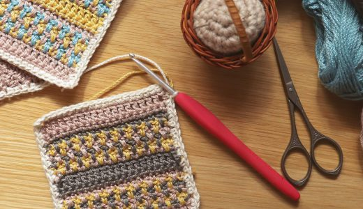 かぎ針編み|ハマナカ ウオッシュコットンで平編み|基本の編み方が練習できるコースター